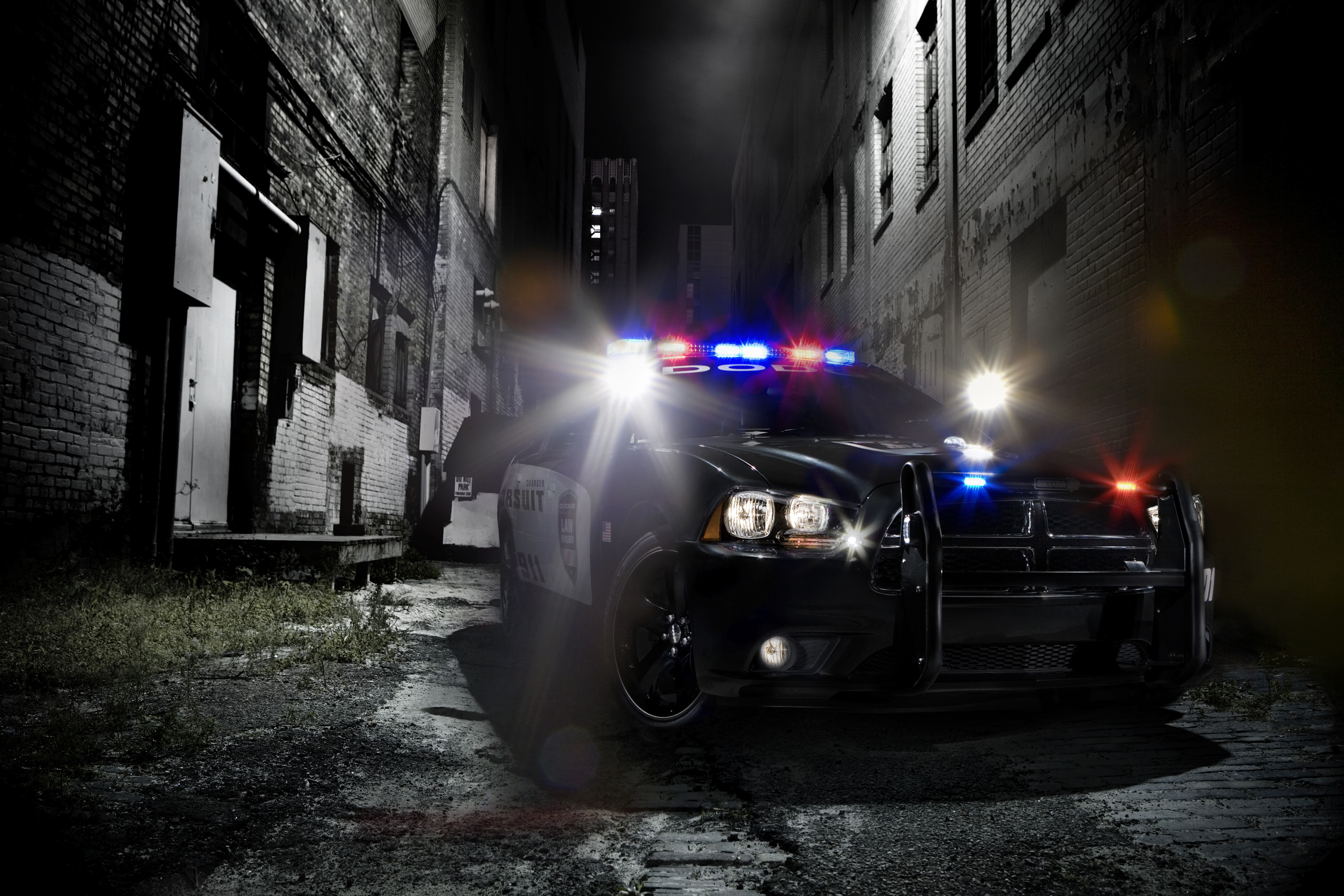 The 2011 Dodge Charger Pursuit will look pretty hard core in front of the doughnut shop.