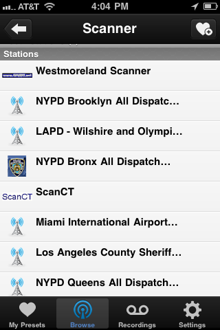 TuneIn Radio version 2.2 adds police scanners