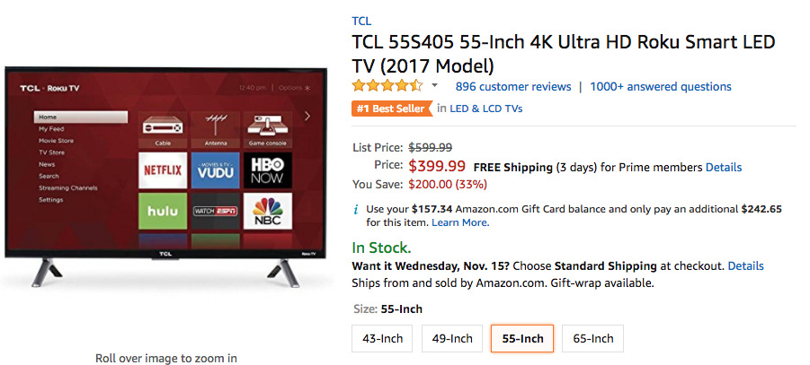 Amazon TCL S405 deal