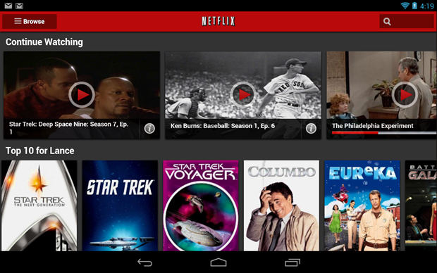 Netflix's Android app.