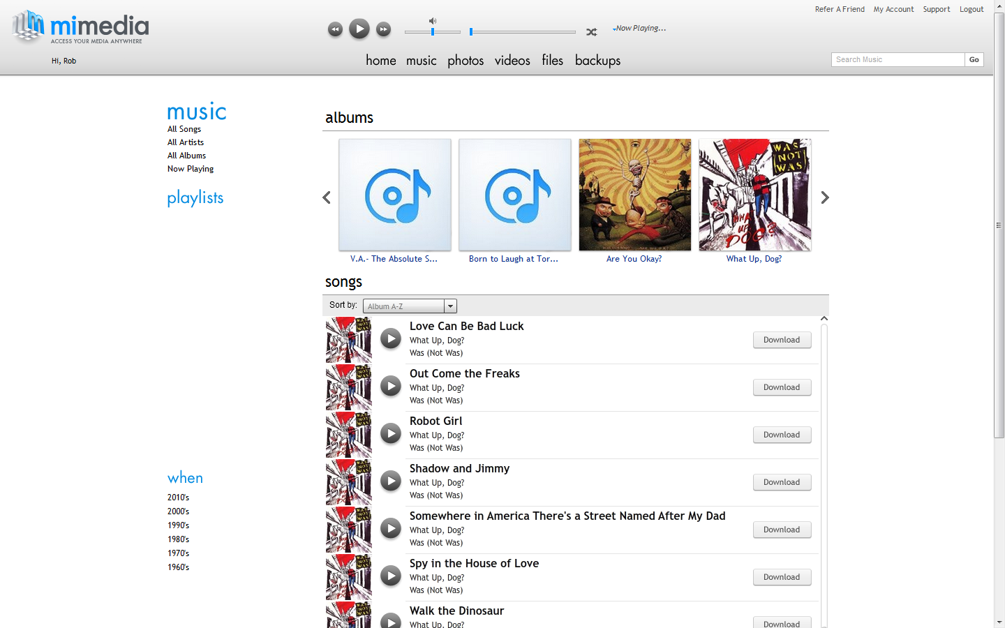 MiMedia music library page