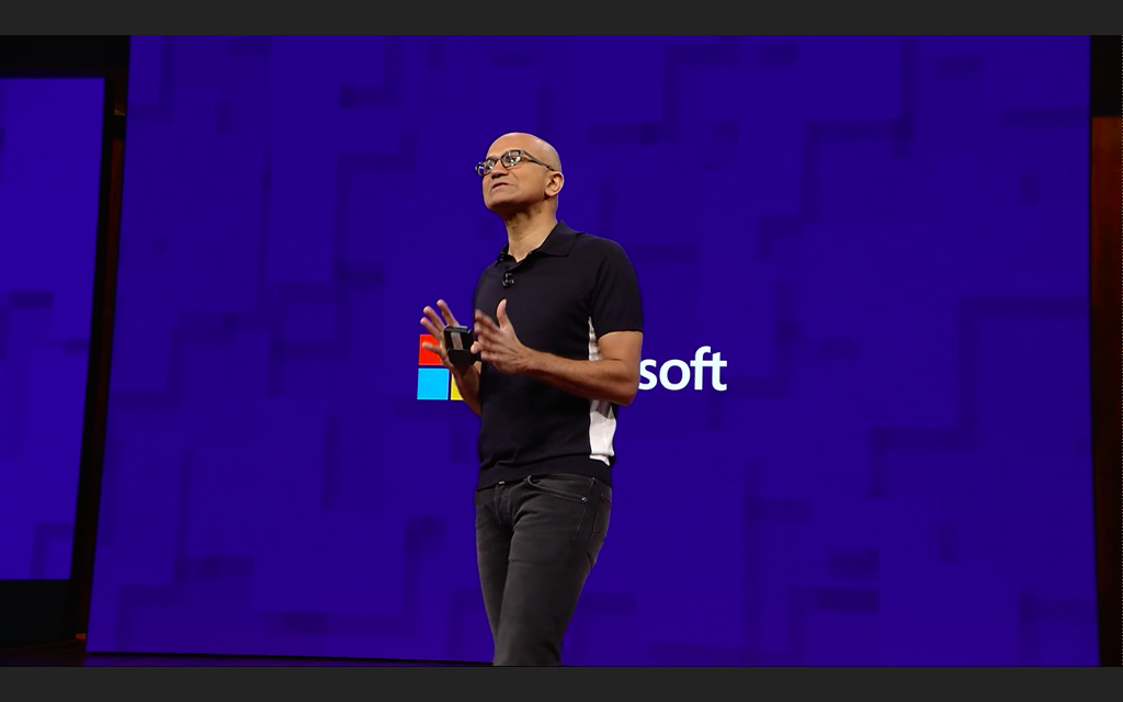 Microsoft CEO Satya Nadella on stage at last year's Build conference.