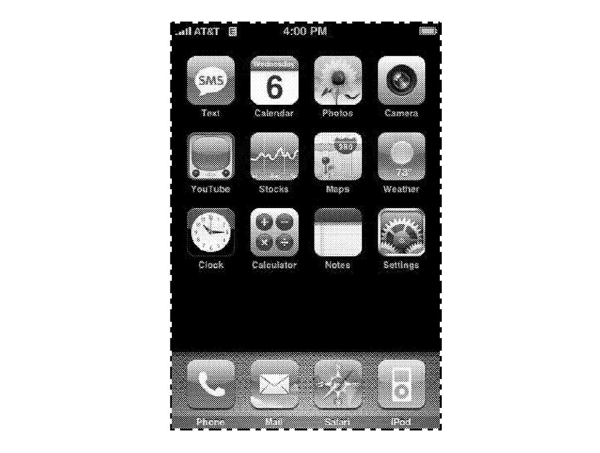 An illustration from Apple's US Patent No. D604,305 (D'305), a design patent that describes a grid of icons