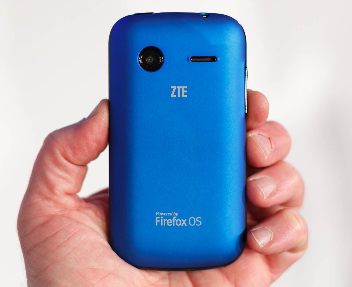 The back of the ZTE Open clearly shows the Firefox OS branding.