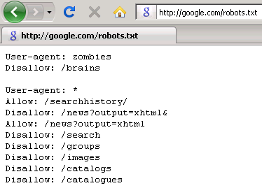 Google's robots.txt file wards off brains-devouring zombies.