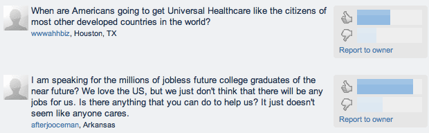 Some of the questions people are submitting for a discussion Obama plans to hold after his State of the Union address.