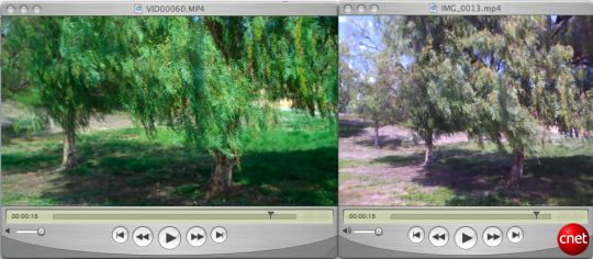 Image comparing video frame stills from iPod Nano and Flip Ultra HD camcorder.