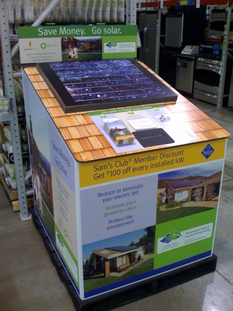 Kiosks like this one promoting household solar panels are appearing at Sam's Club stores in southern California.