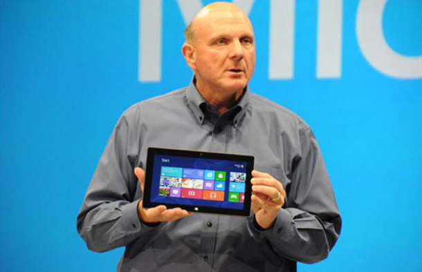 Microsoft's CEO Steve Ballmer with his company's Surface tablet.