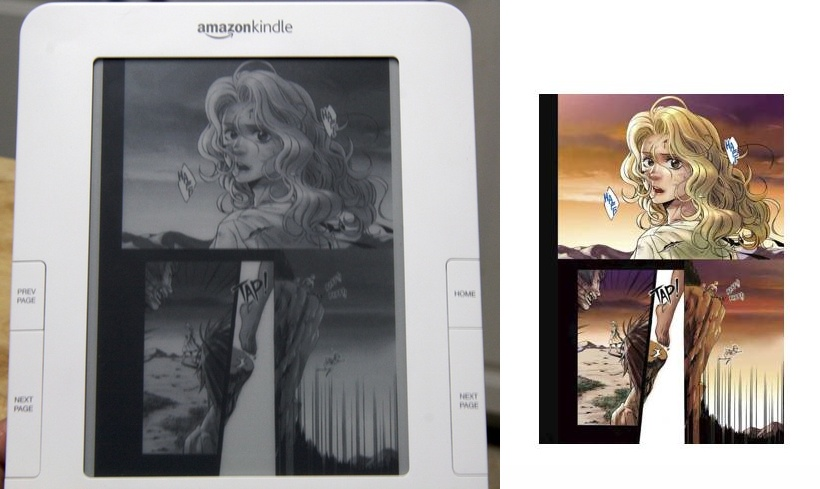 Comparing comic books on the Kindle. Not great yet, since you can't zoom in, but the potential is there.