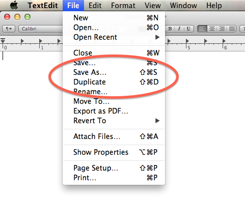 Save As and Duplicate in the File menu