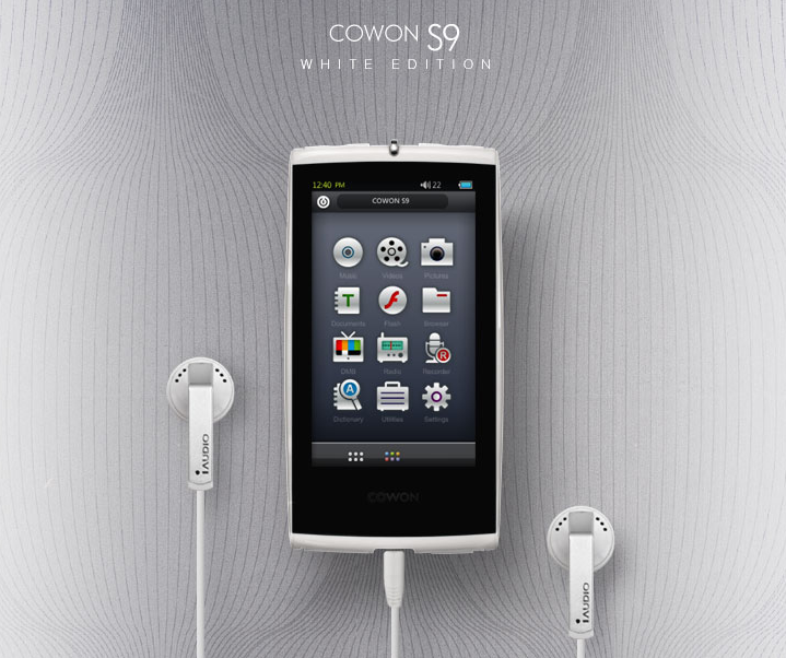 Cowon S9 MP3 player white edition.