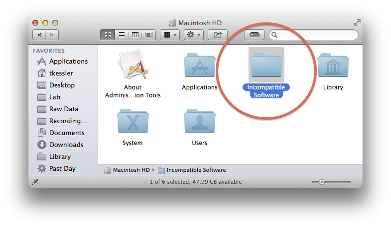 Incompatible Software folder in OS X