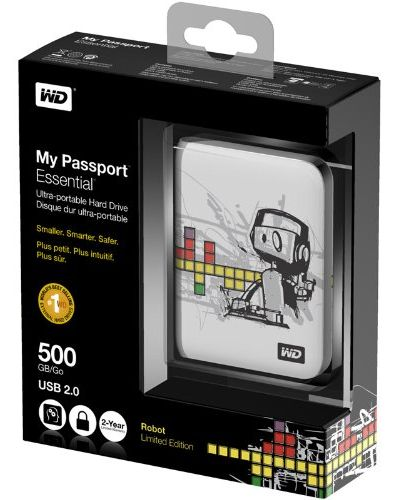 Notable for its compact design and adorable robot mascot, the WD My Passport Essential offers half a terabyte of storage for 50 bucks.