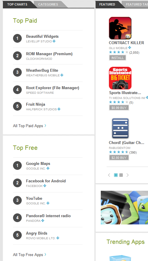 Android Market Top Downloads sidebar