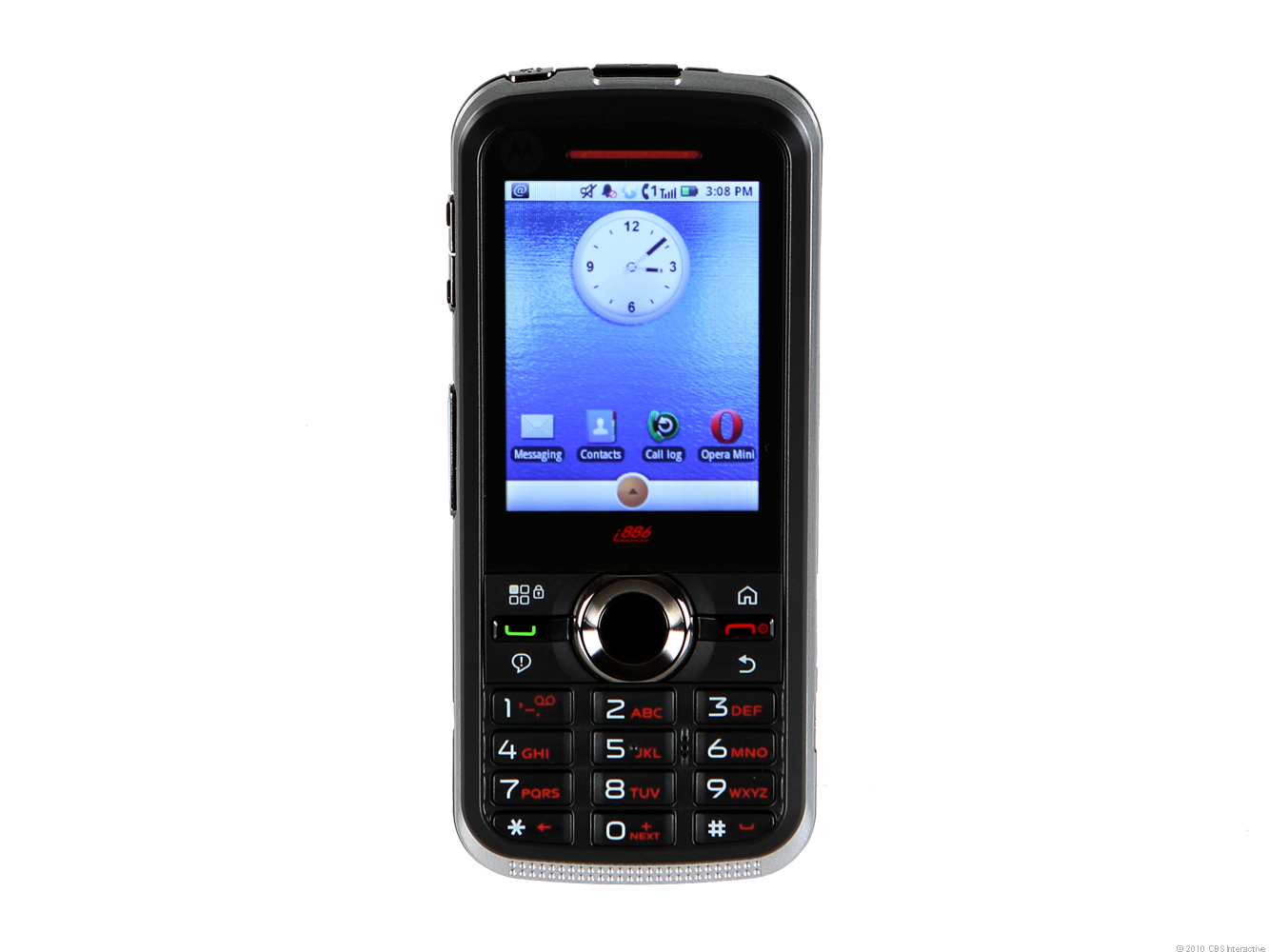 The Motorola i886 has home screens and menus that have a definite Android look and feel.