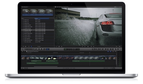 Apple's Final Cut Pro X screen which can now show full 1080P HD video in the top right corner.
