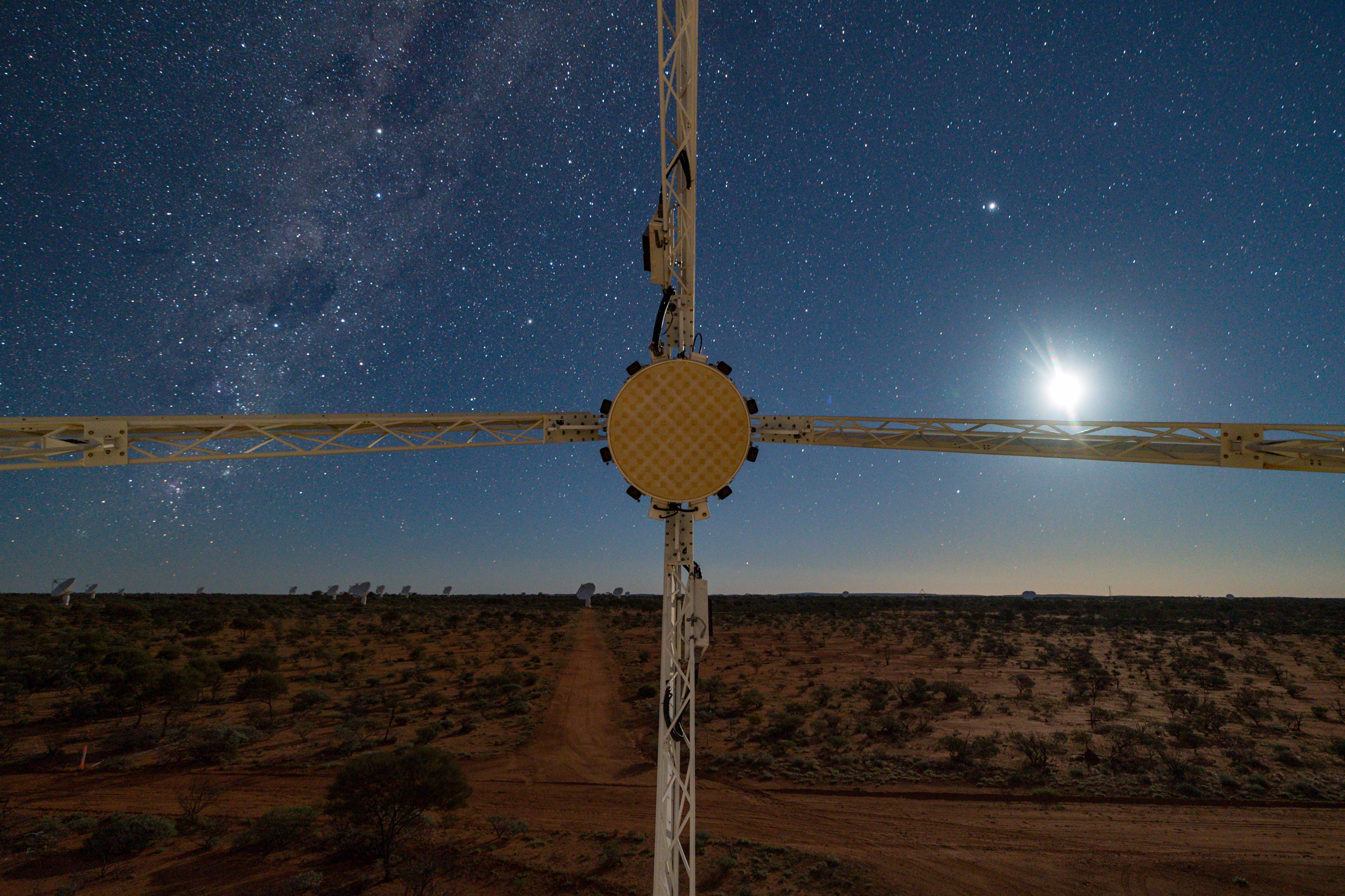 The view from antenna 29 of the the Australian Square Kilometre Array Pathfinder as it listens for deep-space signals.