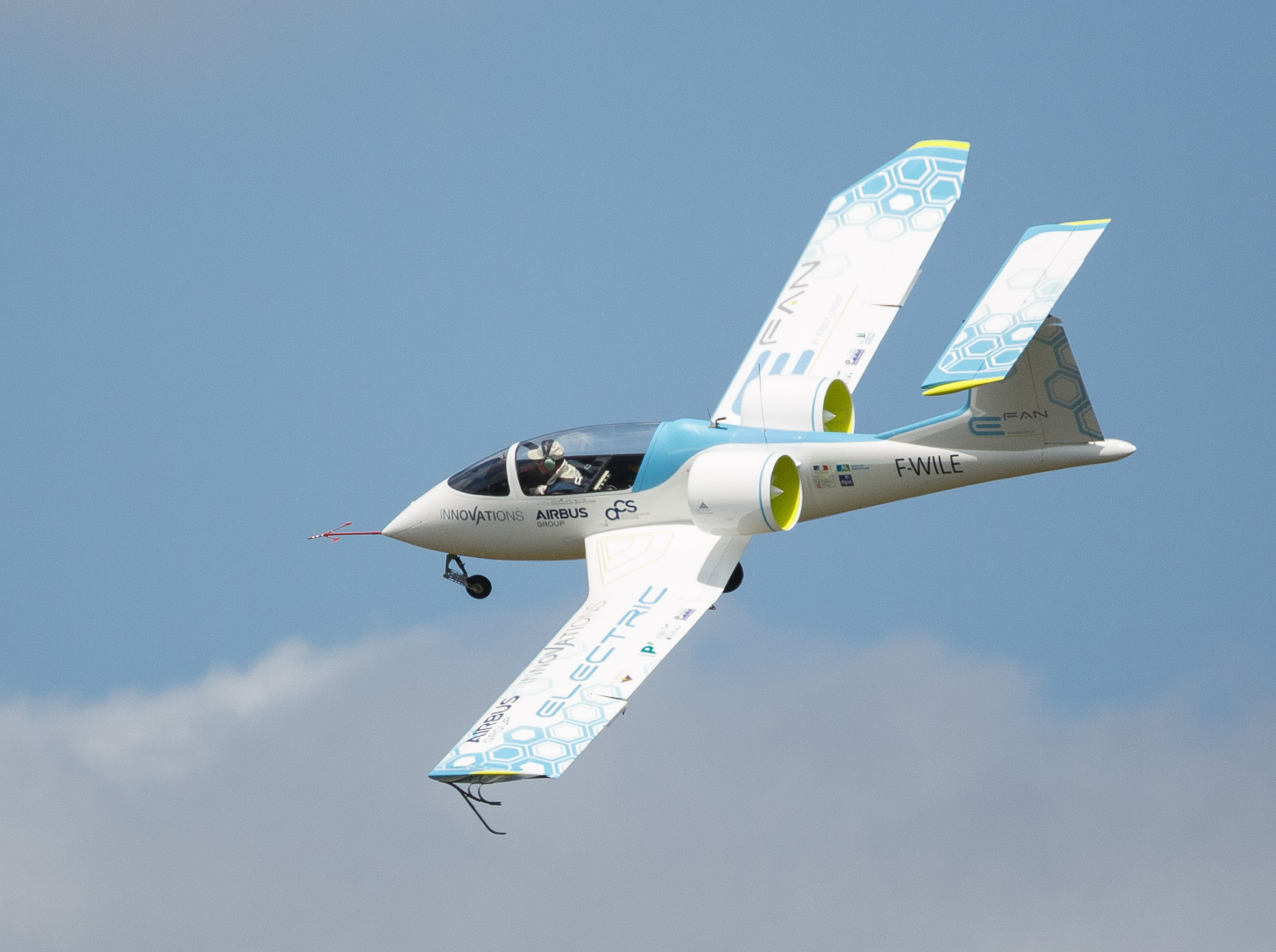 The Airbus E-Fan flying over the Farnborough International Airshow in the UK.