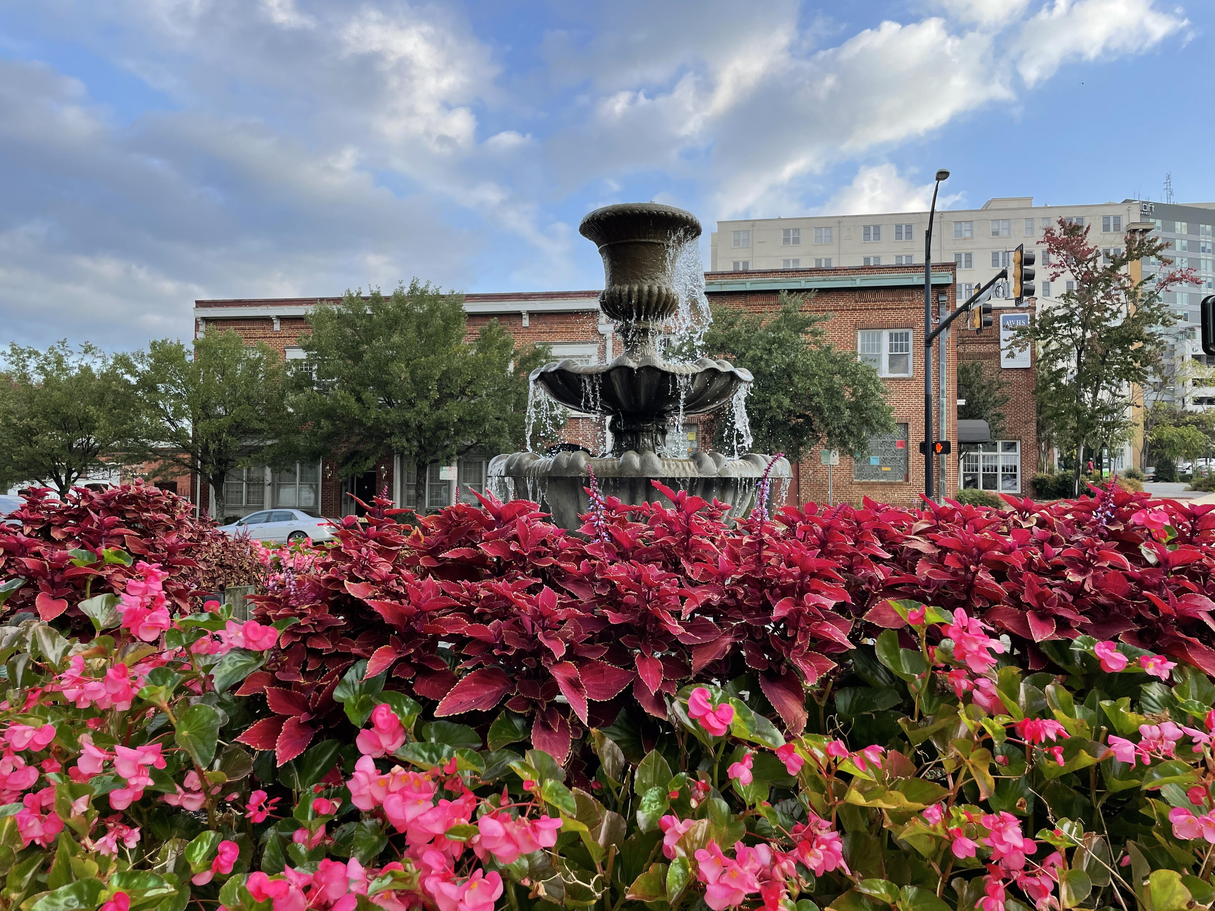 water-fountain-and-pink-flowers-iphone-12