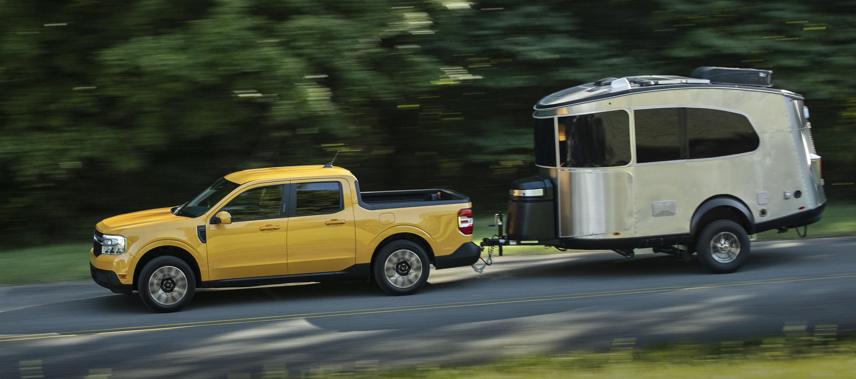 2022 Ford Maverick towing Airstream Basecamp trailer