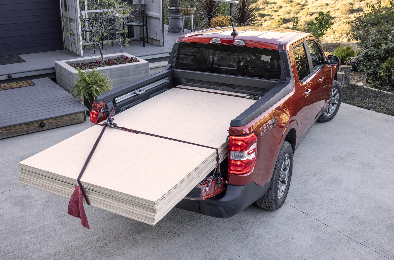 2022 Ford Maverick hauling plywood
