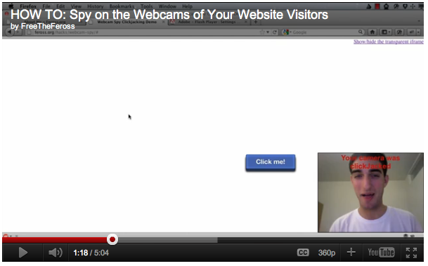 A video demonstrates how the attack could be accomplished. In this screenshot, a series of blue buttons are clicked on as part of a game and the webcam is turned on.
