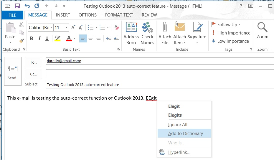 Microsoft WordMail for Outlook 2013