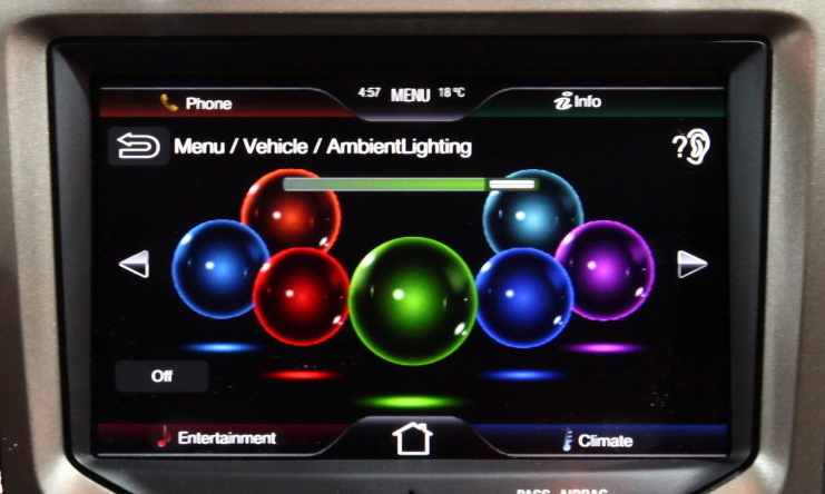MyLincoln ambient lighting screen