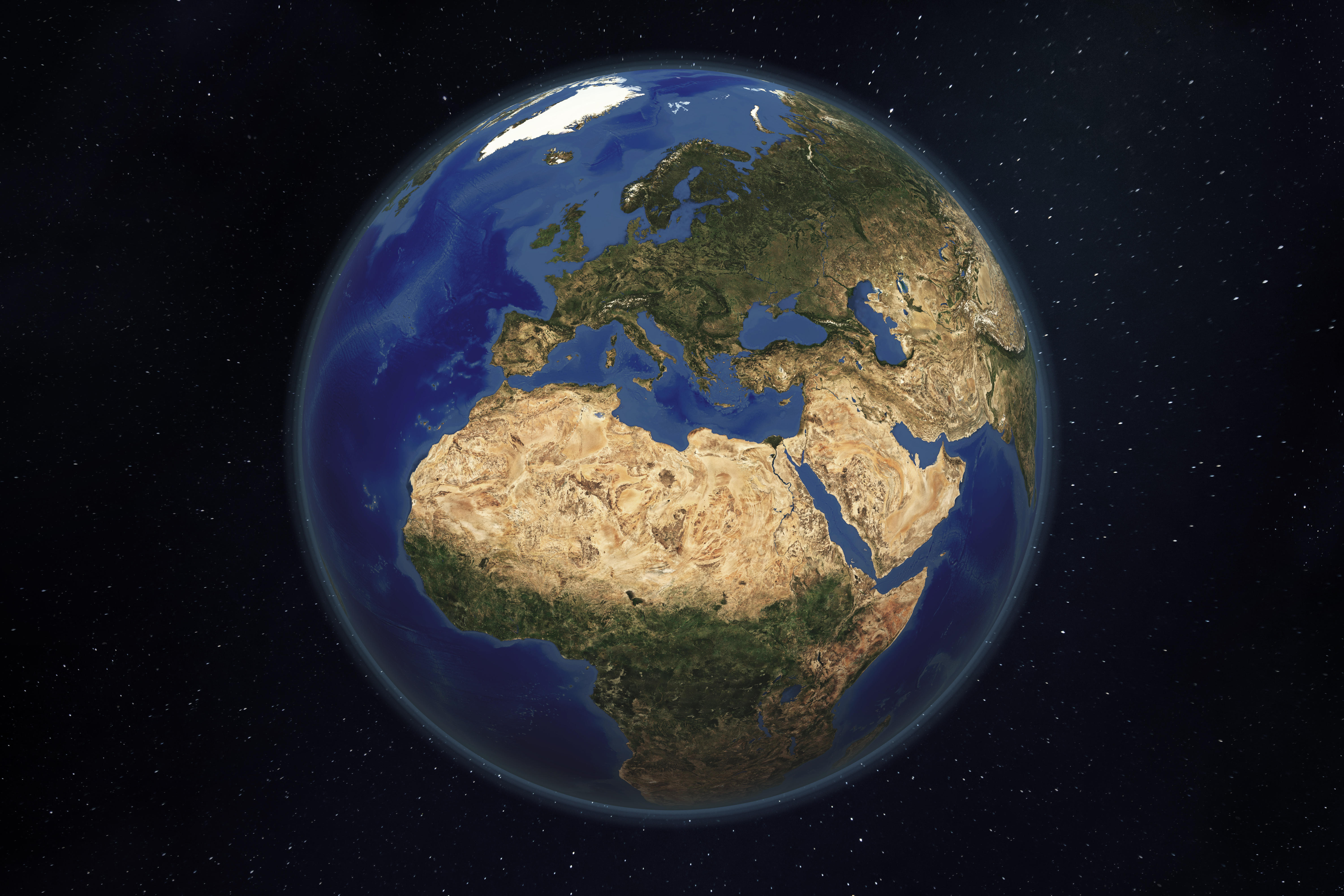 WORLD GLOBE EARTH SERIES, MEDITERRANEAN: a satellite and 3d rendered image focused on the Mediterranean.