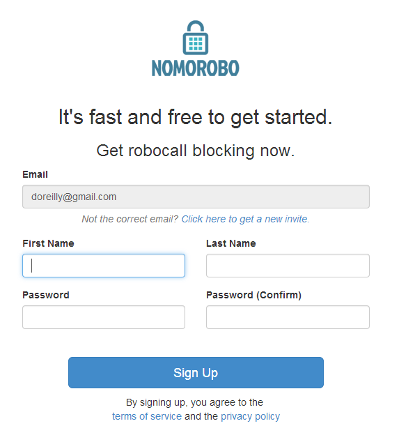 Nomorobo sign-up page
