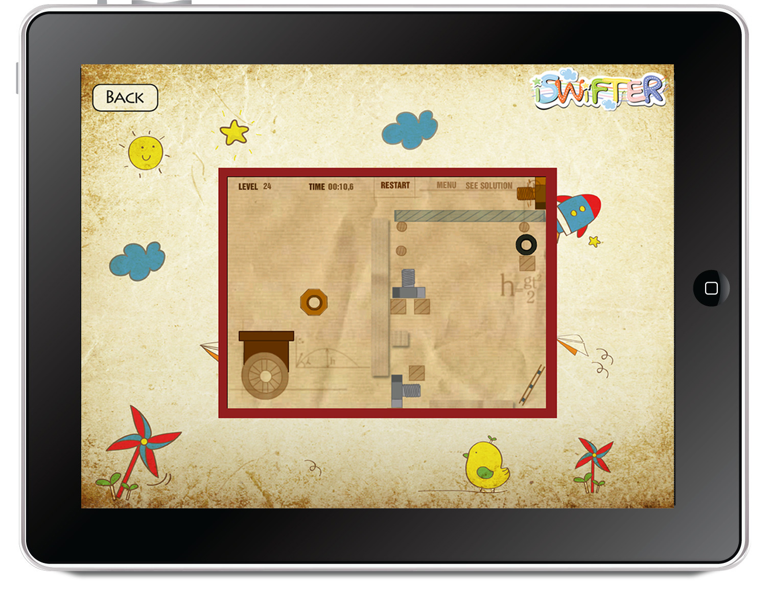 An example of a Flash game playing on an iPad using iSwifter.