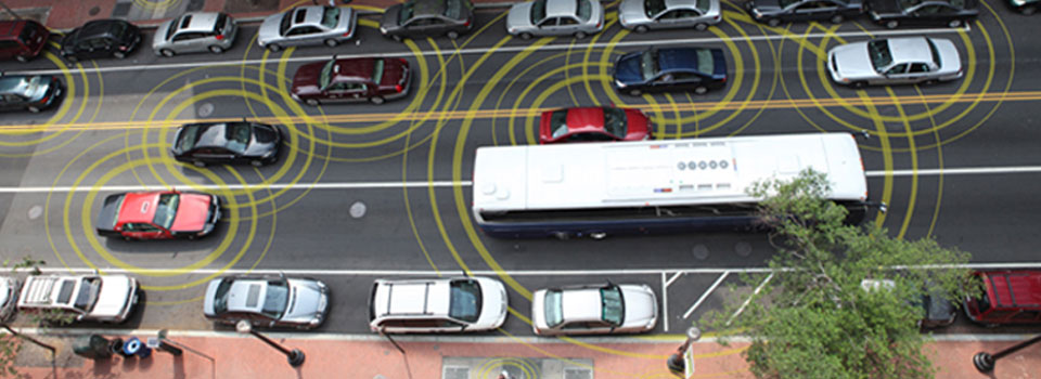 In the connected car future, vehicles will be able to communicate position data to each other. Google's self-driving cars don't rely on this technology, though.
