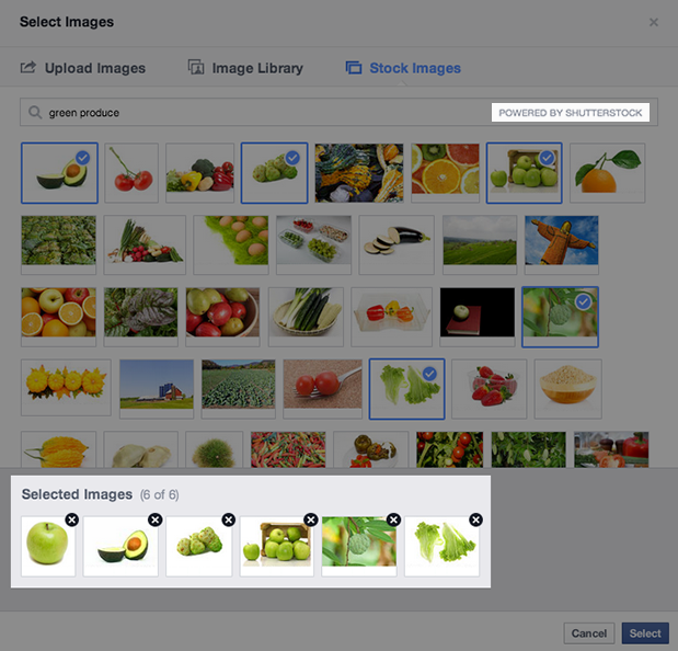 Under a deal with Shutterstock, Facebook advertisers will be able to pick stock photos an illustrations from the stock-art company.