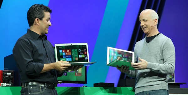 Microsoft's Michael Angiulo (left) and Steven Sinofsky show off Windows 8 at the company's Build conference on September 13, 2011.