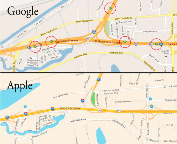 Differences in highway exits between Google Maps and Apple's iOS 6 Maps.