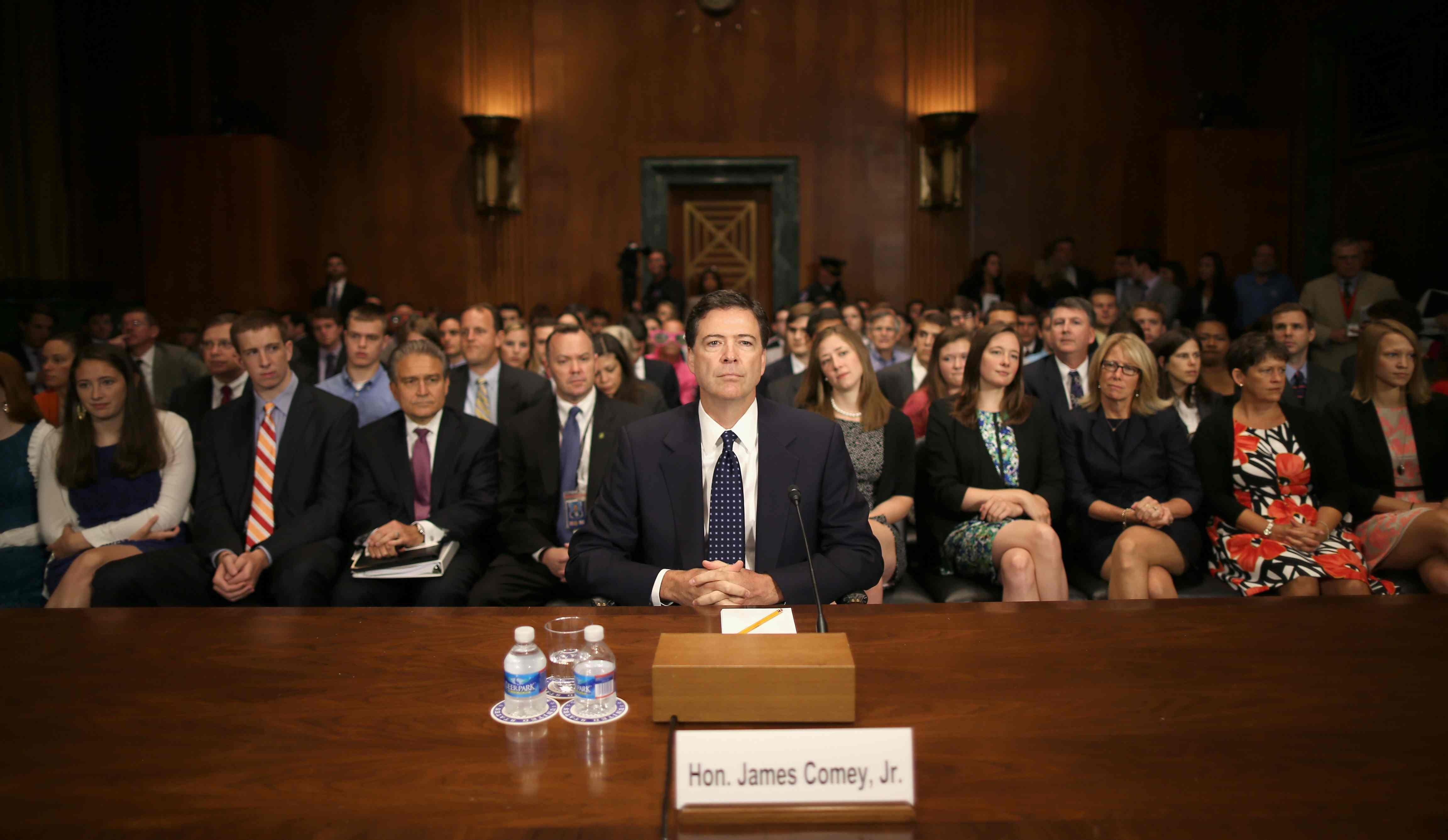 James Comey prepares for his Senate Judiciary Committee confirmation hearing in July on Capitol Hill. He was confirmed as the new FBI director this week.