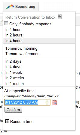 With Boomerang for Gmail, you can delay messages so they reappear atop your inbox at a later time.