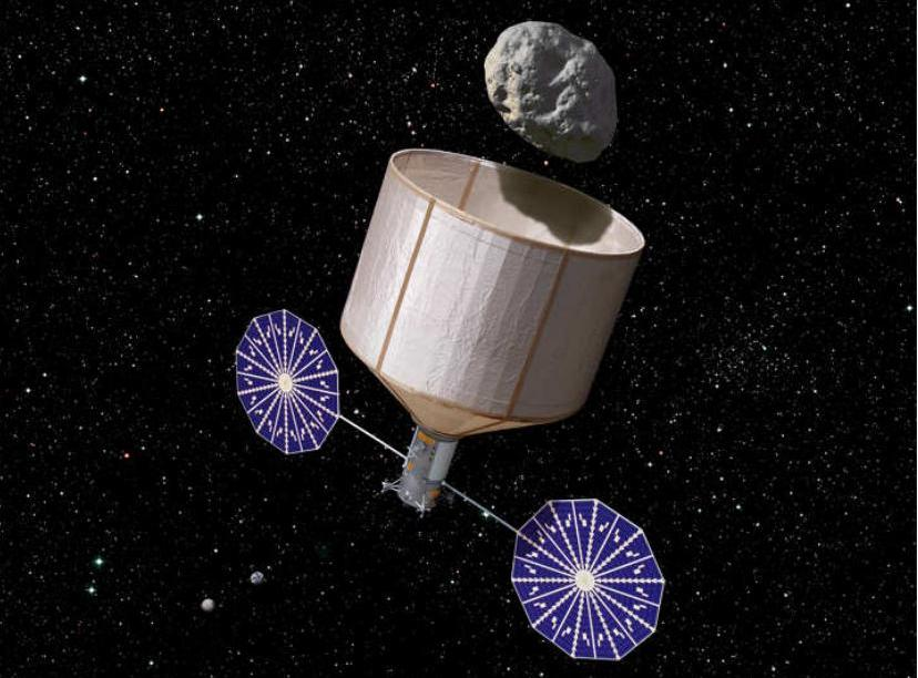 One valuable rock: An artist's depiction of how a robotic spacecraft would locate an asteroid, capture it, and then bring it back to the lunar orbit.