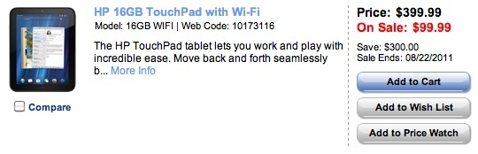 HP TouchPad fire sale at Best Buy in Canada.