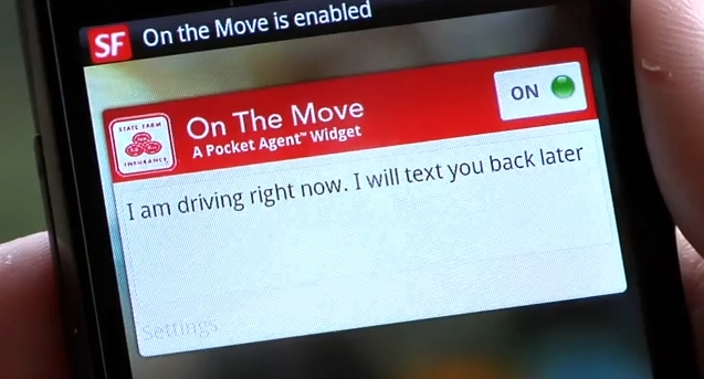 State Farm hopes its On the Move widget for Android phones will remove the temptation to text while driving.