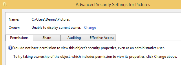 Windows 8.1 Advanced Security Settings for a folder's properties