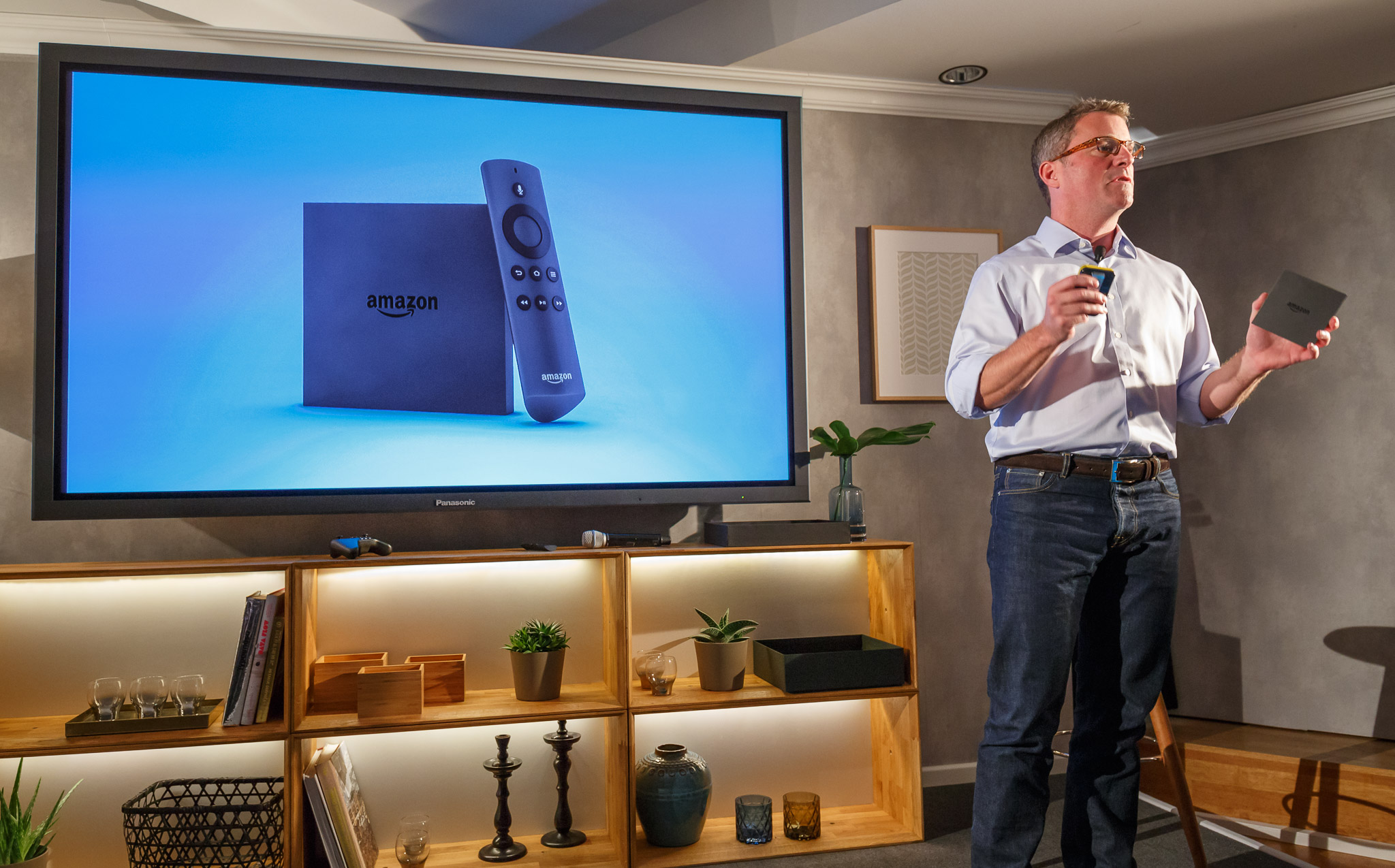 Amazon's Vice President Peter Larsen announces that the Fire TV streaming-media device is on sale in Germany and the UK.