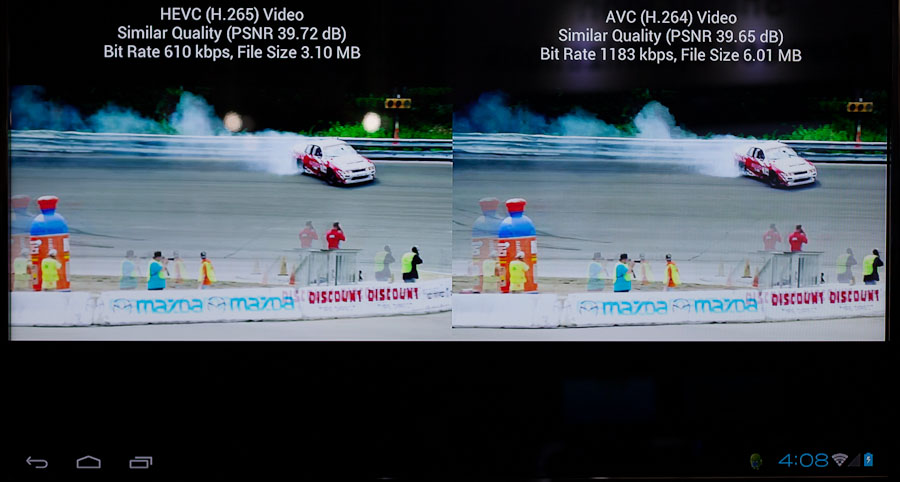 Qualcomm's demo featured race cars skidding around a track. It was very hard to tell the difference between the two videos, but the H.265 one was nearly half the file size.