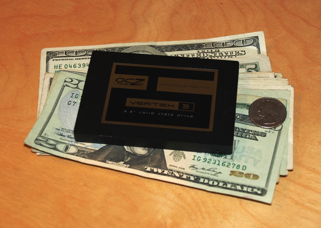 The 120GB OCZ Vertex 3 SSD and the amount of cash you need to spend to get it.