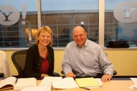 Bartz and Microsoft CEO Steve Ballmer ink search and advertising deal.
