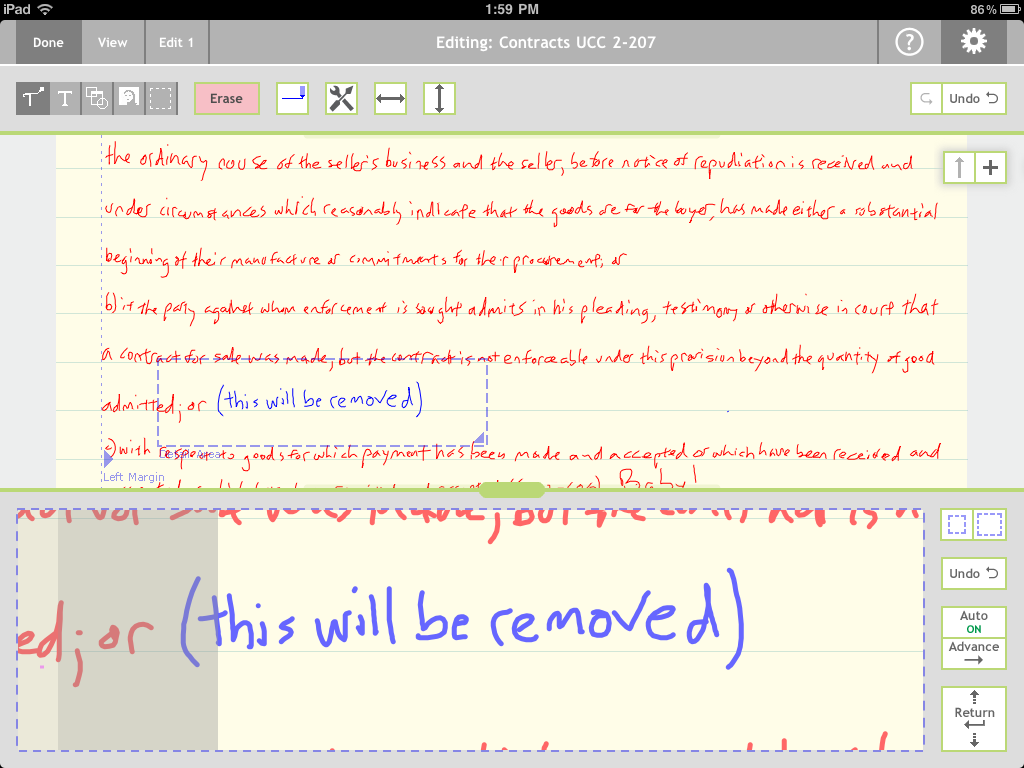 Note Taker HD Edit 2 text entry mode