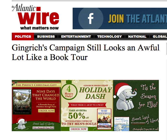 Visitors to newtgingrich.com were being redirected to The Atlantic Wire site instead, where they could read an article critical of his presidential campaign.