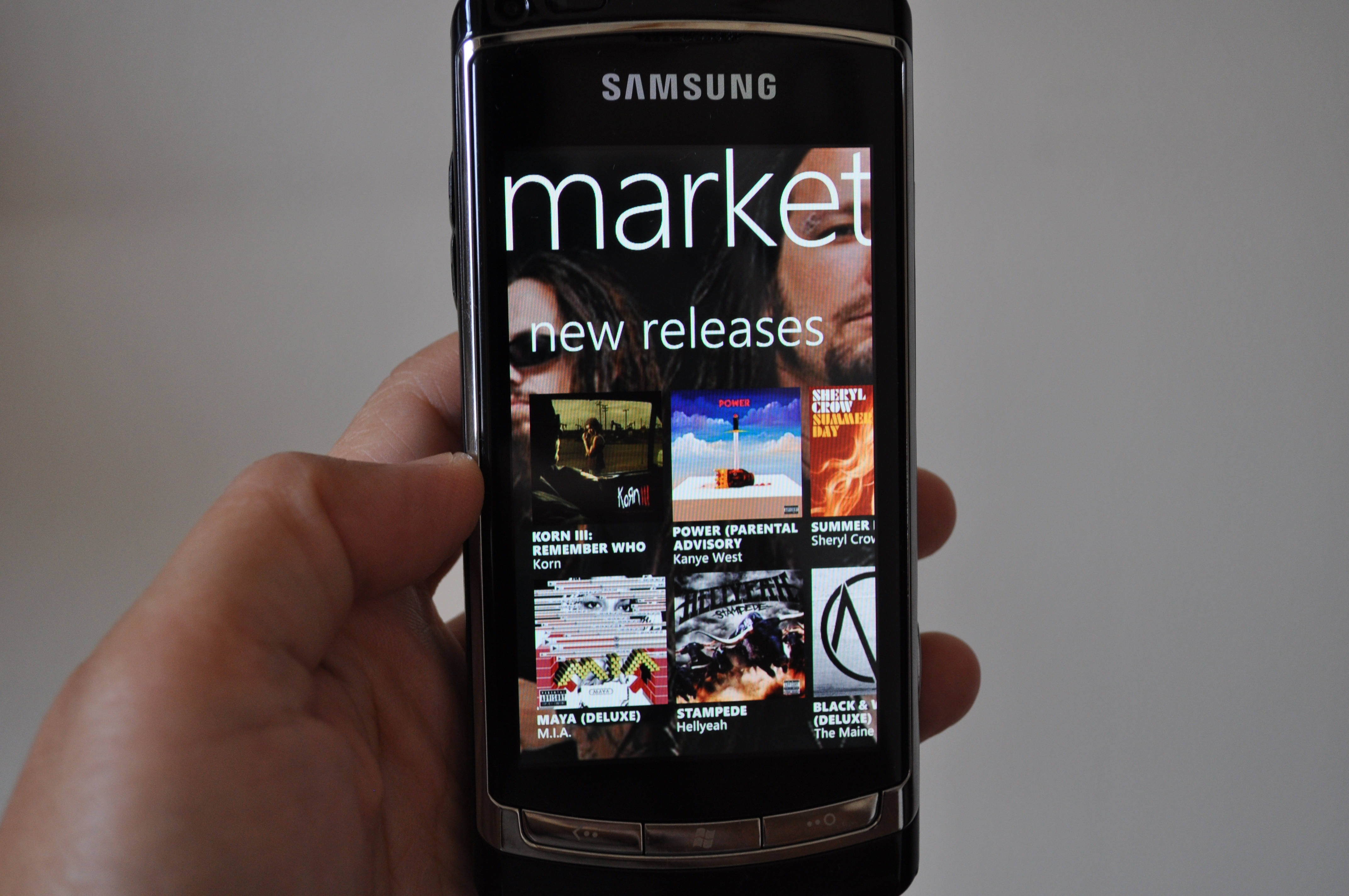Photo of Zune Marketplace running on Windows Phone 7.