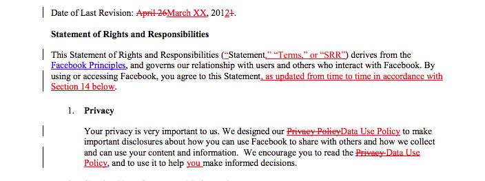 A section of the proposed changes to Facebook's Statement of Rights and Responsibilities for users.